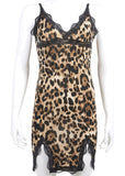 Leopard Print Camisole Bodycon Dress V-Neck Lace Nighties Sleepwear/Free Shipping