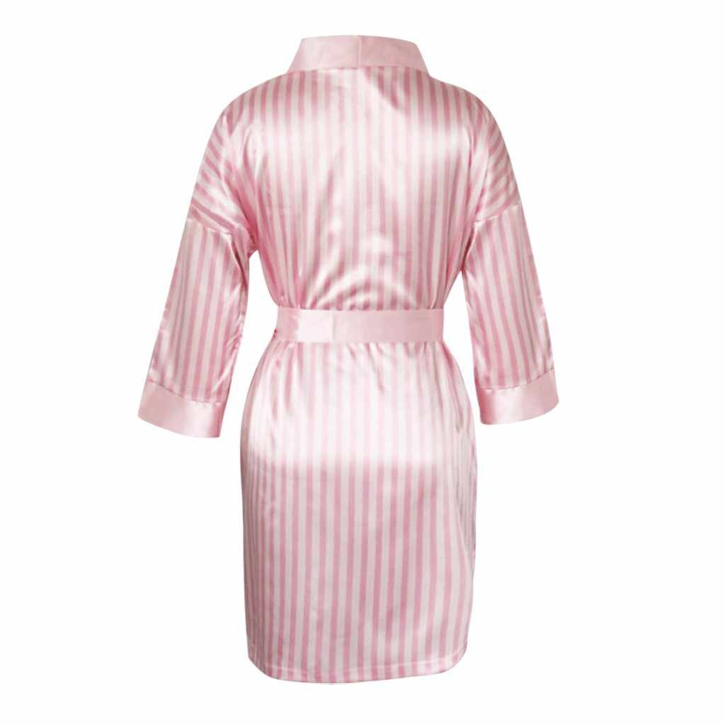 Satin Stripes Pajamas Home Wear 3 Pieces Sleepwear Sets/Free Shipping