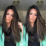 Medium length straight brown wig/Free Shipping