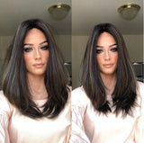 MIDDLE straight brown hair/Free Shipping