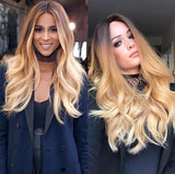 Women Gorgeous Wigs With Long Golden Brown Wave Hair