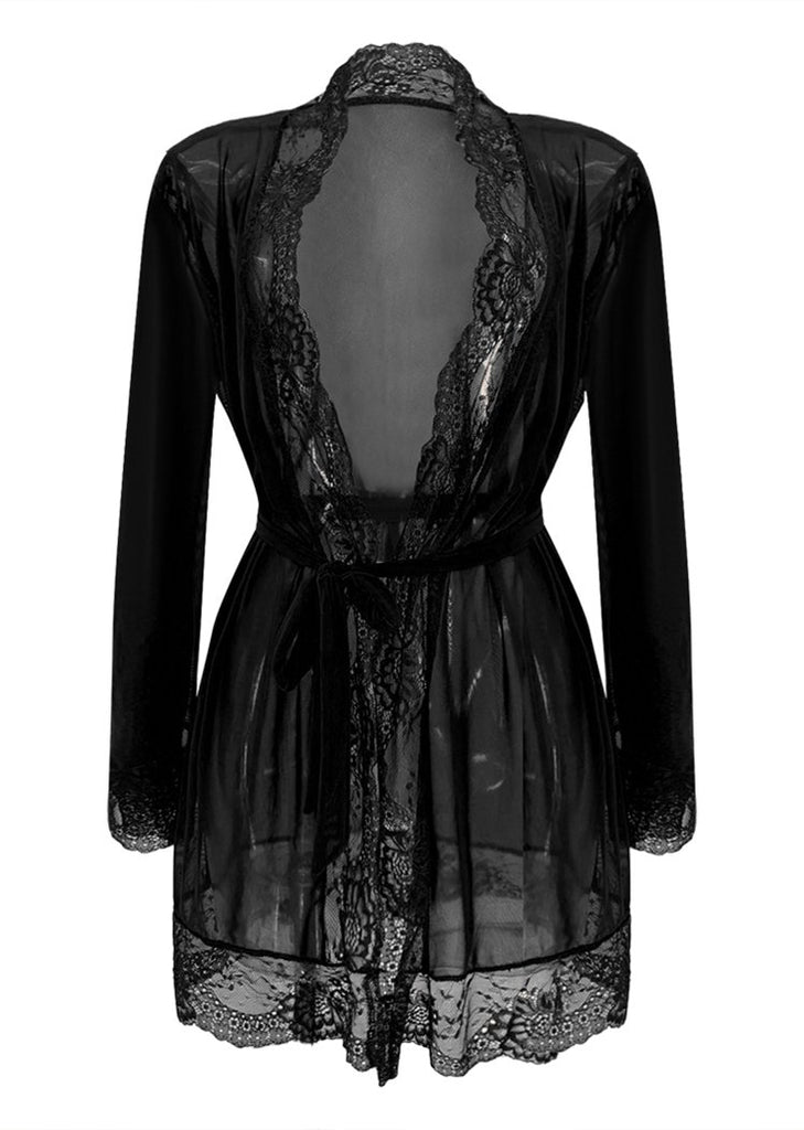 Womens Lingerie Lace Trim Mesh Long Sleeve Cardigan Night Robes/Free Shipping