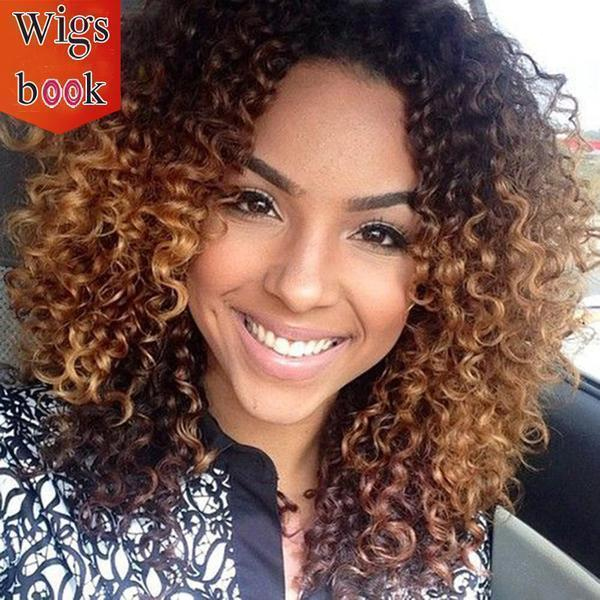 Afro Kinky Black and Brown Ombre Wig