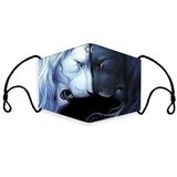 Adults Children  Reusable Blue/Black Werwolf  Omni-Dry Cloth Face Cover