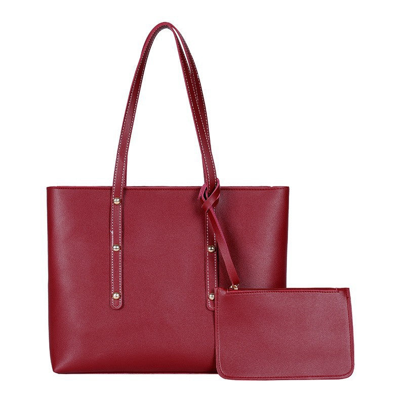 Womens Soft Faux Leather Tote Shoulder Handbag With Zipper Pouch Wristlet/Free Shipping