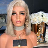 Silver-White Straight Short Bob Lace Frontal Wig For Women
