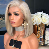 Silver-White Straight Short Bob Lace Frontal Wig For Women/Free Shipping