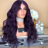 Women DEEP Purple Wavy Lace Front Wig For Wedding