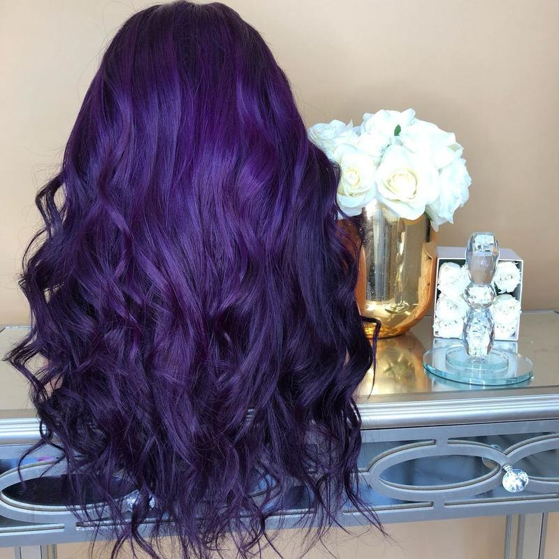 Women DEEP Purple Wavy Lace Front Wig For Wedding/Free Shipping