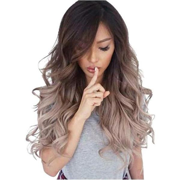 Women Silver Grey Body Wave Front Wig Long Natural Dark Root Heat Resistant Hair Wigs