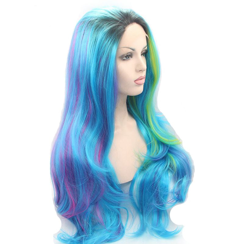 Ladiesstar Fashion Synthetic Lace Front Wigs Blue Mixed Purple Yellow Lace Front Wigs For Women