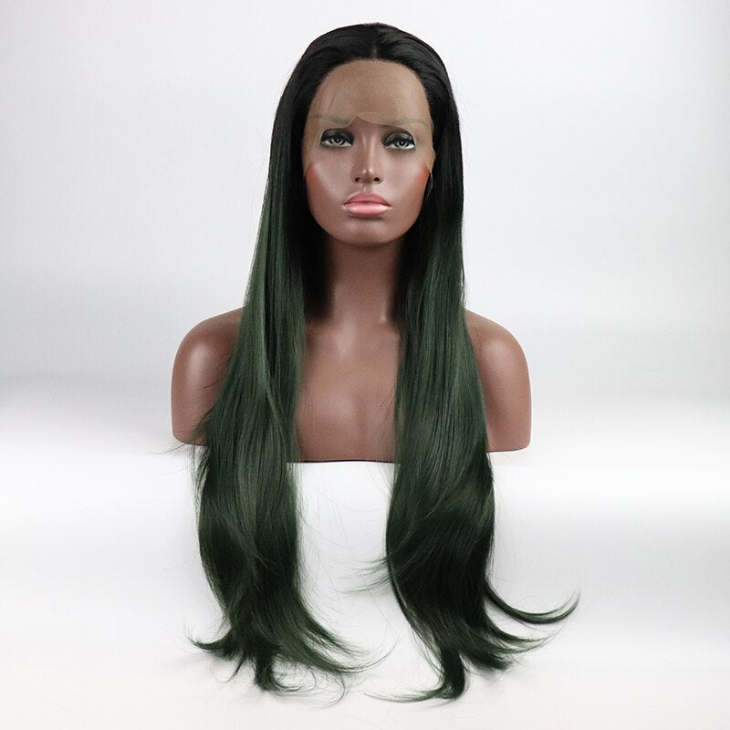 Fantasy Beauty Long Straight Heat Resistant Soft Fiber Hair Wigs Ombre Green Hair for Women Synthetic Lace Front Wigs