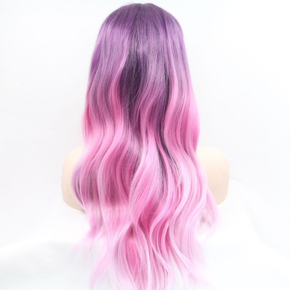 Ladiesstar Pink Purple Ombre Synthetic Lace Front Wigs Long Wavy Glueless Three Tone Pink Lace Front Wig For Fashion Women