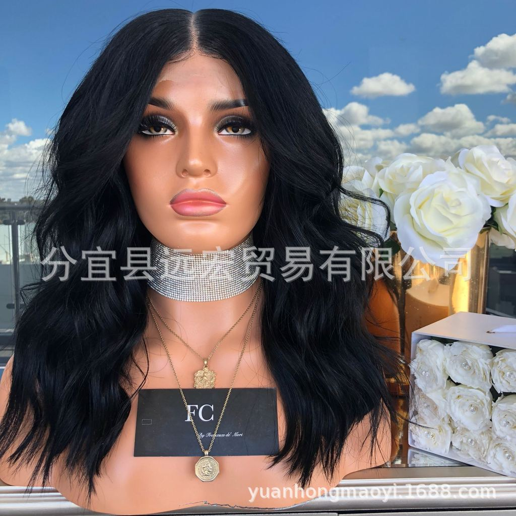 Long Bob Black bleached knot Lace Front Wig