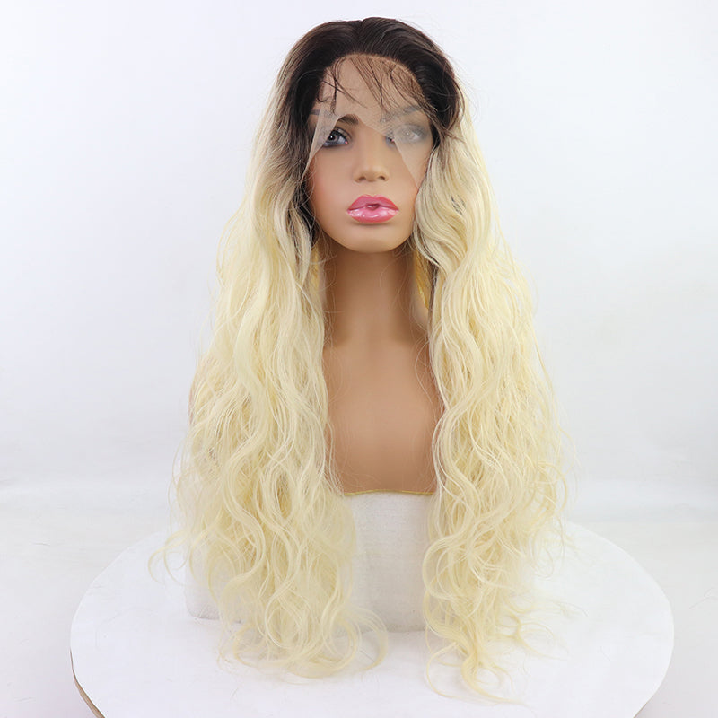 Natural Hairline With Baby Hair 26  High Temperature Fiber Long Water Wave Dark Black 613 Ombre Blonde Synthetic Lace Front Wig