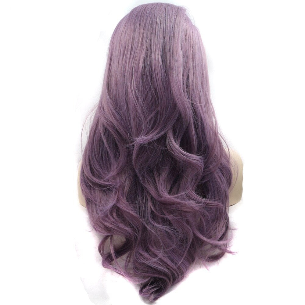 Ladiesstar Natural Looking High Temperature Fiber Synthetic Lace Front Lavender Purple Wigs For Women/Free Shipping