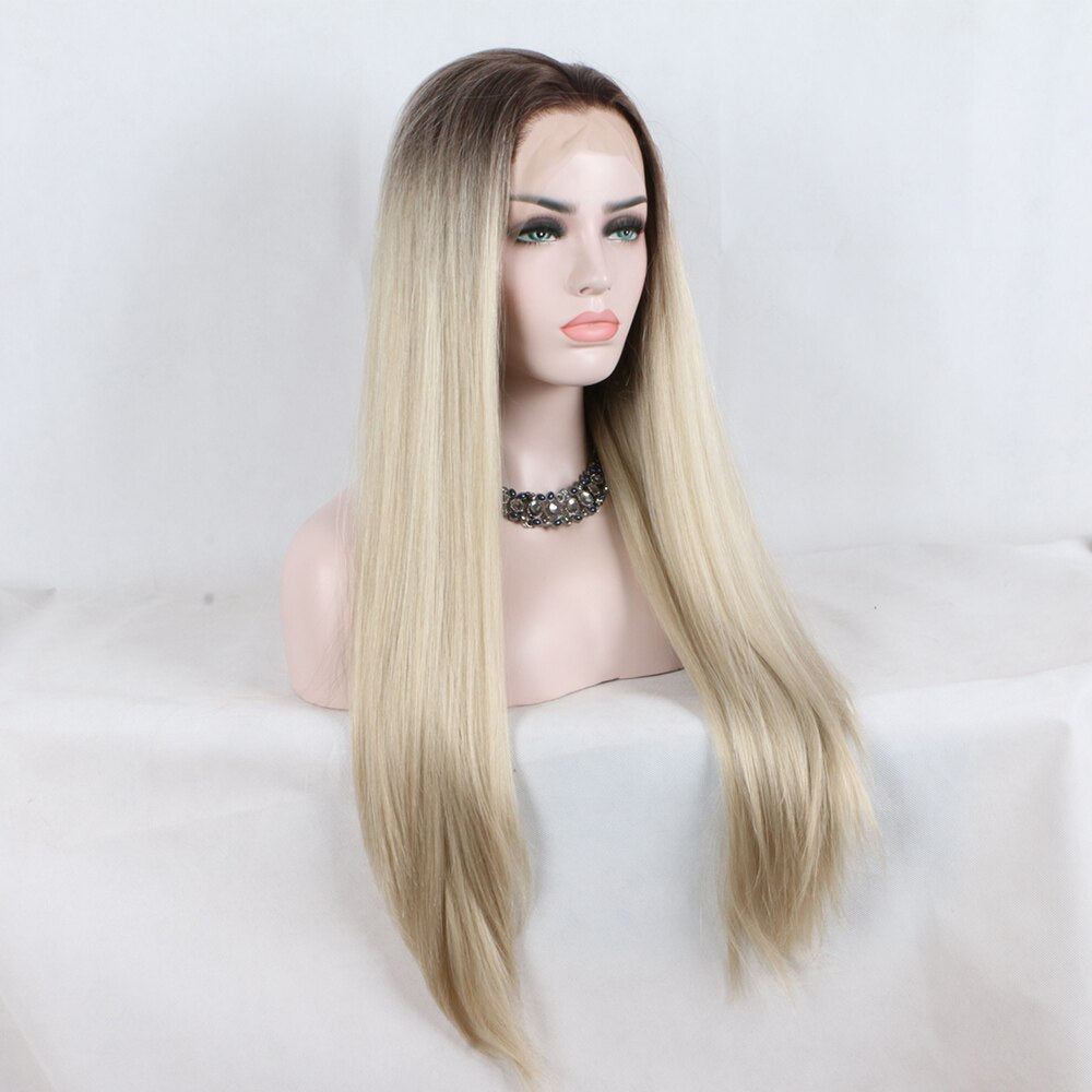 Fantasy Beauty Long Straight Ombre blonde Heat Resistant Synthetic Lace Front Wigs Two Tone Wigs For Black Women/Free Shipping