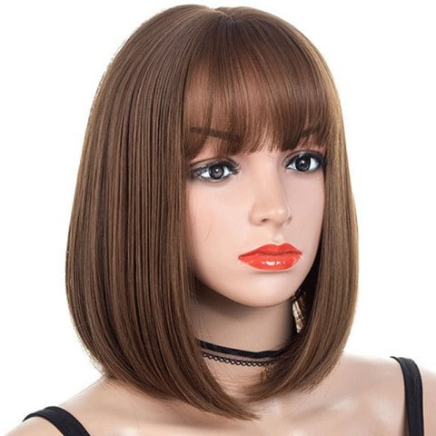 Neat Fringe Slim Face Central Parting Hair Style Bob Wig