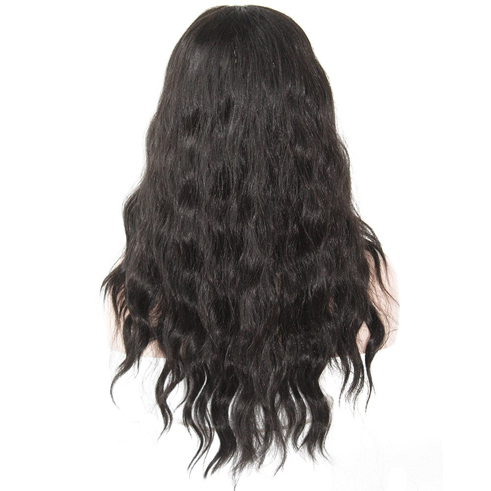 Natural Wave Heat Resistant Fiber Long Wavy Lace Frontal Wig Free Part For Women