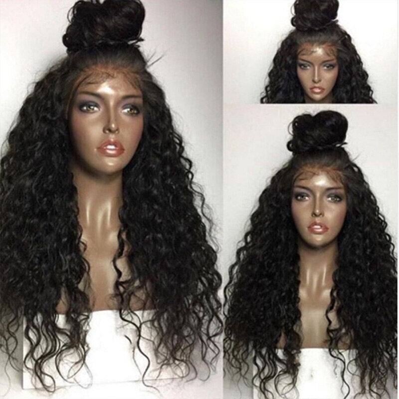 Ladiesstar 13*6 Deep Free Part Synthetic Lace Frontal Wig with Baby Hair Loose Curly Heat Resistant Fiber Hair Makeup Party Wigs