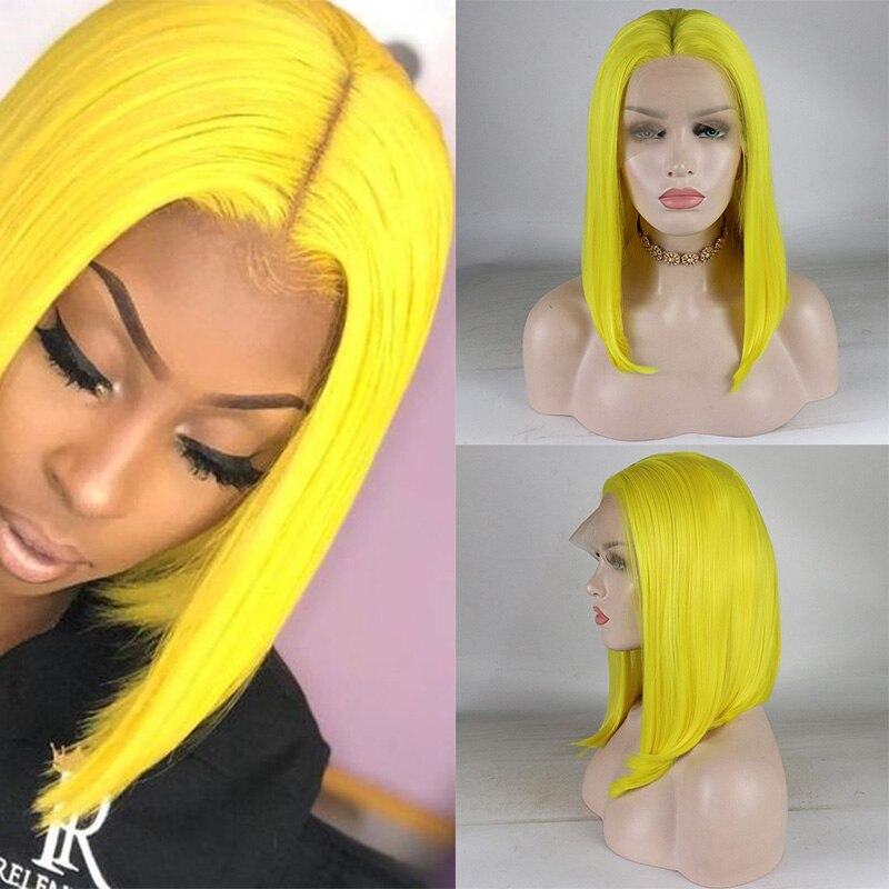 Ladiesstar Yellow Synthetic Lace Front Bob Wig Heat Resistant Fiber Replacement Make Up Wigs For Women