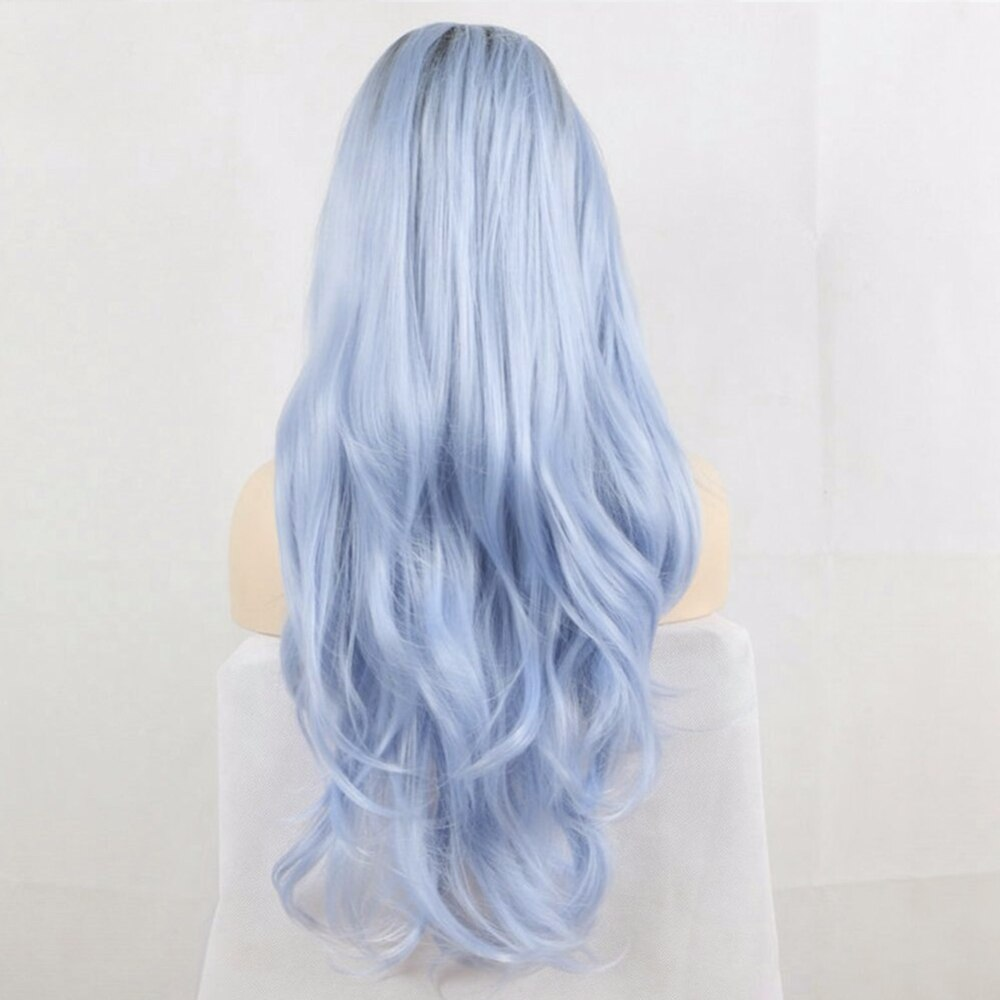 Fantasy Beauty Dark Root Ombre Pastel Blue Heat Resistant Fiber Hair Long Nature Wave Light Blue Synthetic Lace Front Wigs/Free Shipping