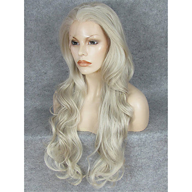 Gray waist length Wavy Synthetic Lace Wig/Free Shipping