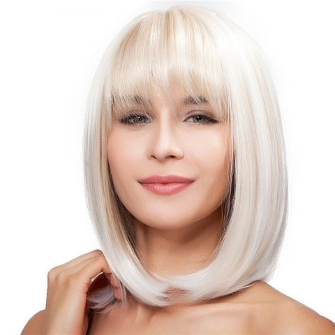 Ladies Fashion Natural Short Straight Hair Wig/Free Shipping