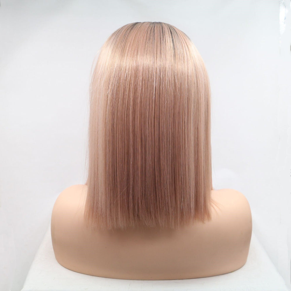 Ladiesstar Synthetic Lace Front Bob Wig Ombre Dusty Rose Gold Heat Resistant Fiber Replacement Wigs For Women