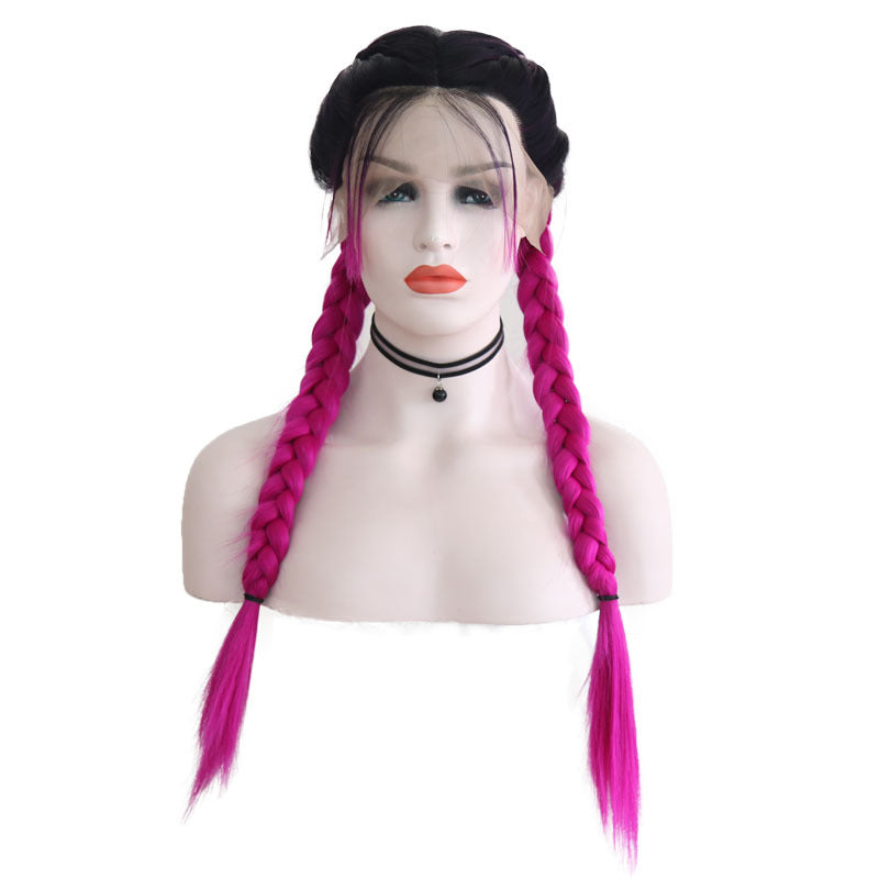 New Wig Fashion Middle Score Long Straight Rose Red Hair Multicolor Optional Braided Wig