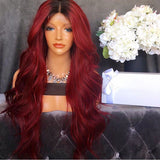 Ombre Red Front Lace Wigs Glueless Middle Part Full Lace Wigs
