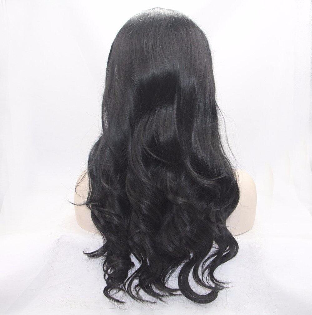 Fantasy Beauty #1B Lace Front Wig Long Natural Wavy Soft Heat Resisitant Fiber Hair Glueless Synthetic Wigs For Women 20 inches/Free Shipping