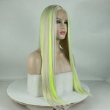 Fantasy Beauty Top Fashion Blonde Highlights Yellow Green Synthetic Lace Front Wig Mixed Color Lace Front Wig For Women/Free Shipping