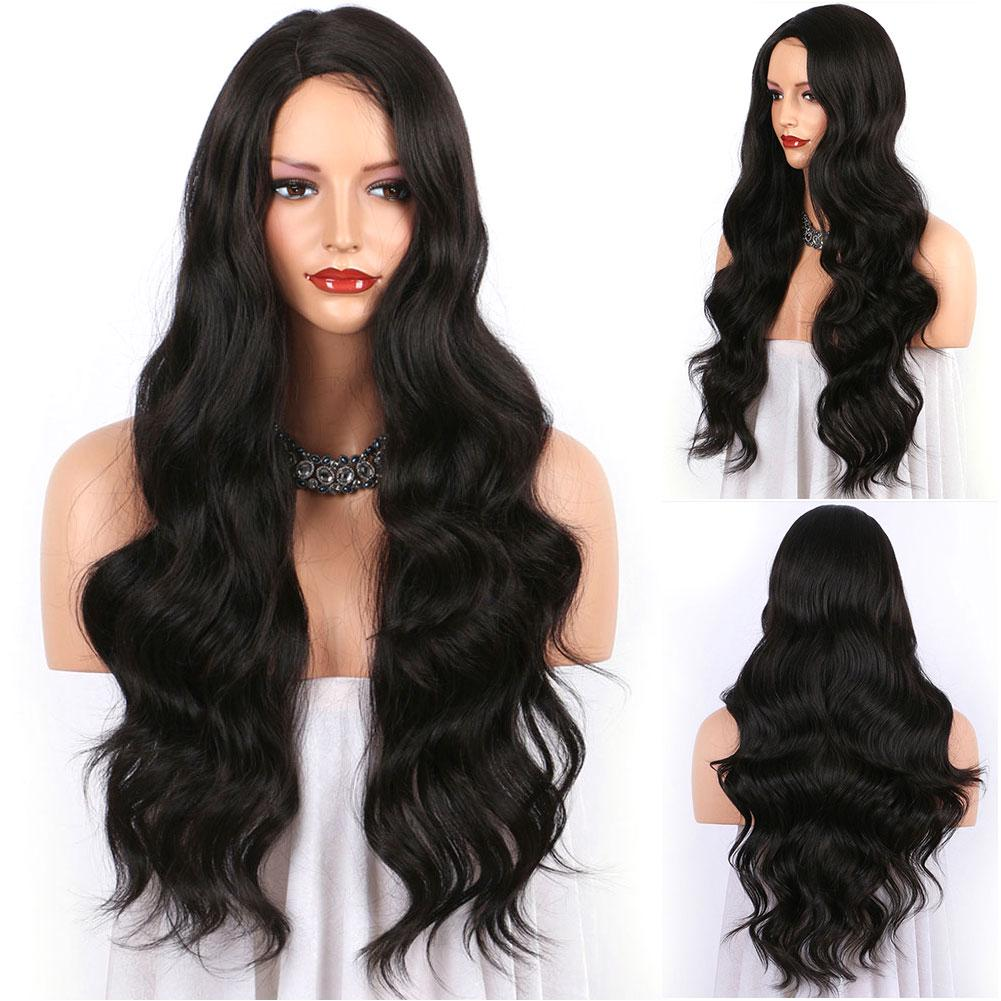 PreferredWomen Long Lace Front Fashion Daily Black Remy Hair European American Wave Wig/Free Shipping