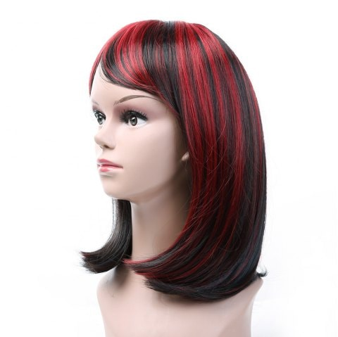 Short Hair Female Black Gradient Wine Red Star Hairstyle Wig