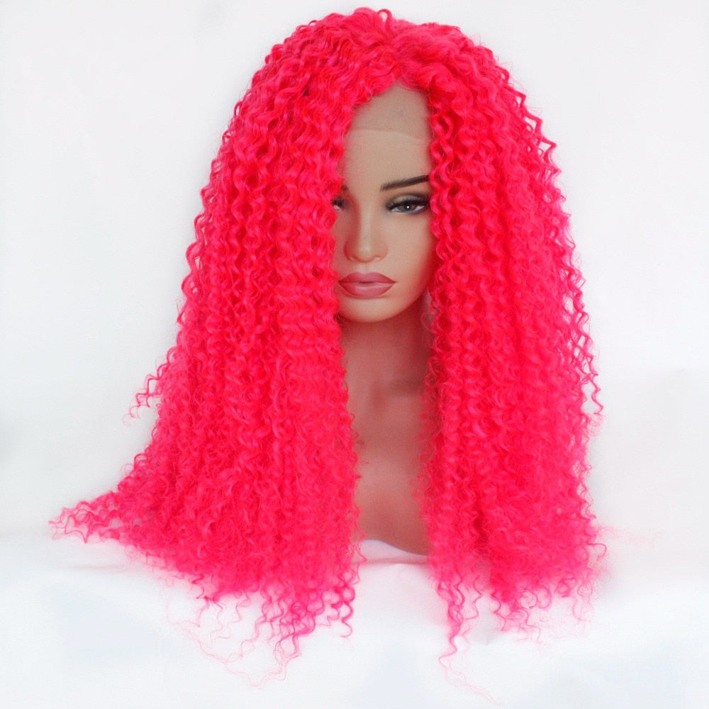 Ladiesstar Heat Resistant Fiber Hair Synthetic Wig Hot Pink Kinky Curly Synthetic Lace Front Wigs for Black Women