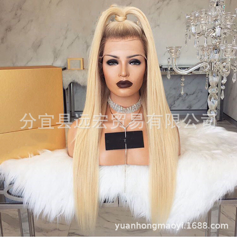 Ombre Blonde Lace Front Wig Dark Roots  Silky Straight Lace Front Wig