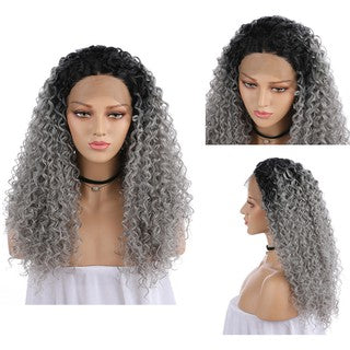 Natural Curly Lace Front Synthetic Wig Women Long Gradient Grey Wave Wavy Wigs