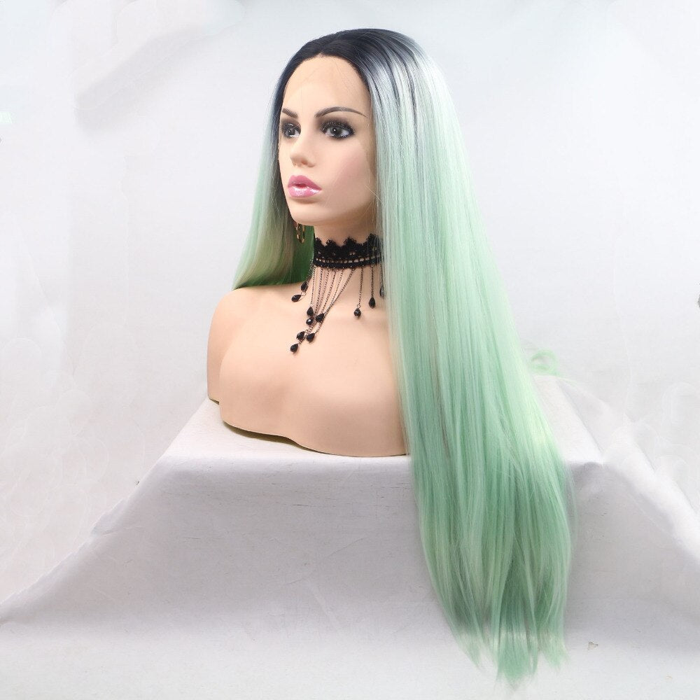 Fantasy Beauty Summer Dark Root Mink Green Synthetic Lace Front Wig Celebrity Style Lace Front Wig For Women/Free Shipping