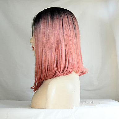 Straight Style Bob Lace Front Wig Pink Pink Synthetic Hair Women's Middle Part Bob/Free Shipping