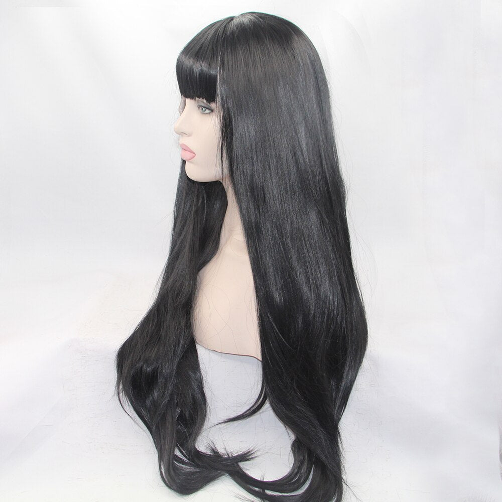 Fantasy Beauty Black Wig 24 inches Full Fringe Long Straight Hair Wig for Women Heat Resistant Synthetic Wig With Bangs/Free Shipping