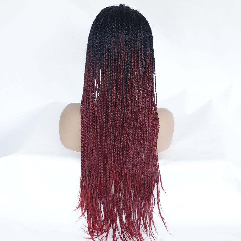 Black Ombre Burgundy Hair Color 26in 150% density Twist Braids Synthetic Front Lace Wig