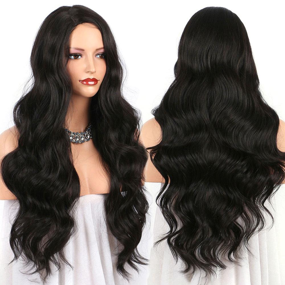 PreferredWomen Long Lace Front Fashion Daily Black Remy Hair European American Wave Wig