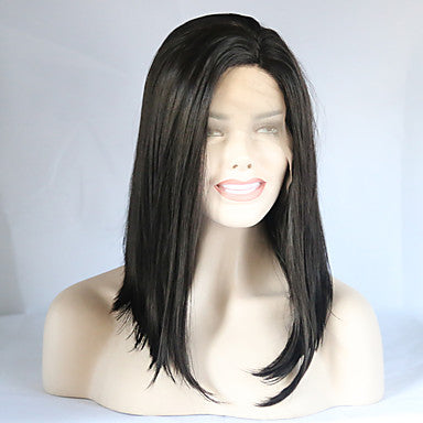 Kardashian Style Bob Lace Front Wig Black Dark Black Synthetic Hair Women's Middle Part Bob/Free Shipping