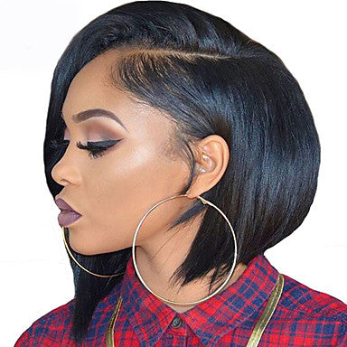 Yaki Style Bob L Part Wig Brown Natural Black Hair Natural Hairline Brown Wig