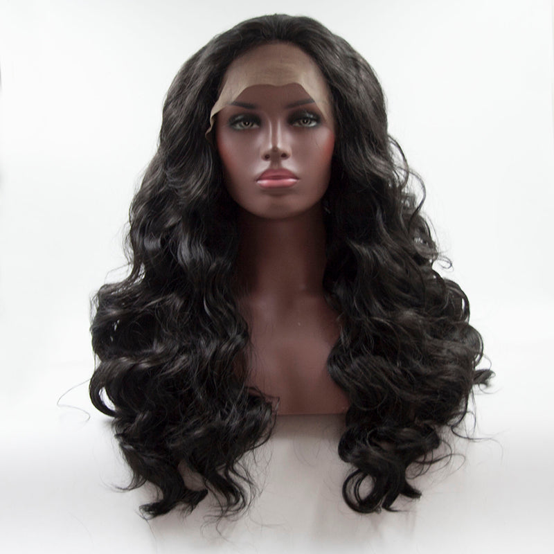 Fantasy Beauty Long  Body  Wave Swiss Natural Black Synthetic Lace Front Wig Natural Hairline Heat Resistant Fiber Lace wigs