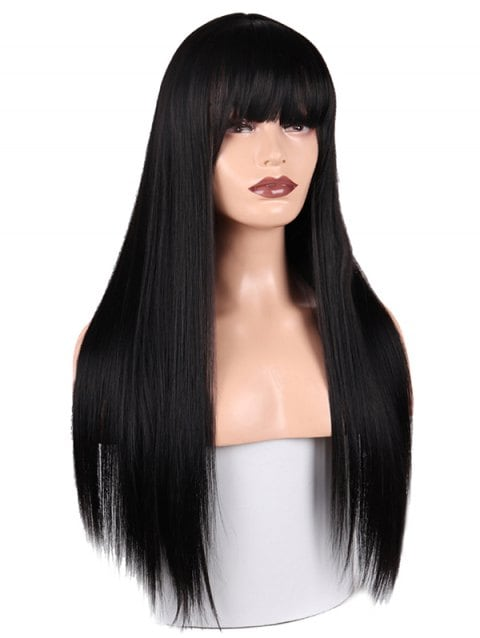 Foxwigs Lace Front Wigs Full Fringe Long Straight Hair Wig/Free Shipping