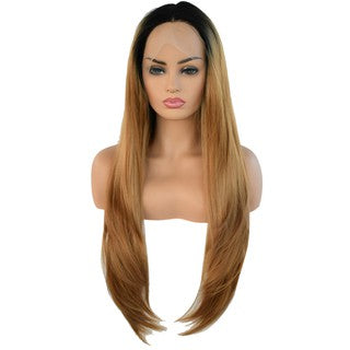 Straight Long Synthetic Lace Front Wig Lace Wigs Women Gold Hair Lace Net/Free Shipping