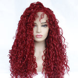 High Temperature Fiber Burgundy Red Purple Curly Lace Front Wig For Women