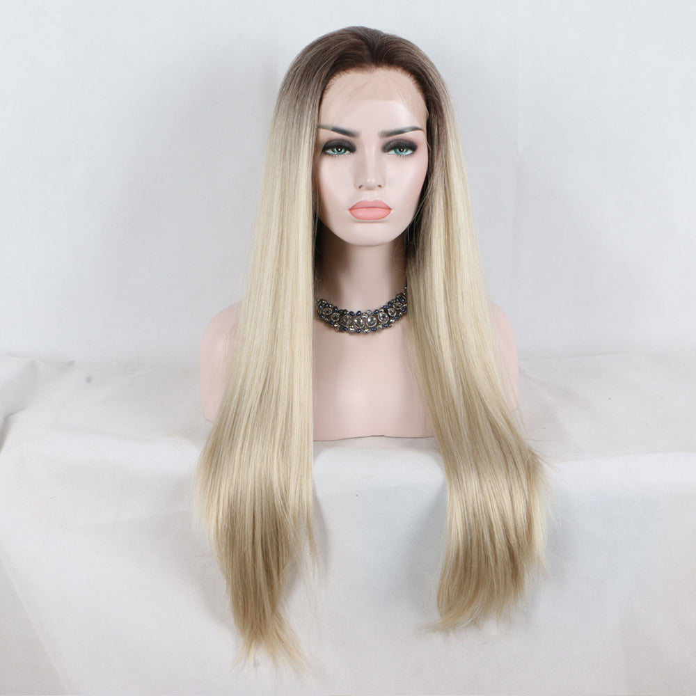 Fantasy Beauty Long Straight Ombre blonde  Heat Resistant Synthetic Lace Front Wigs Two Tone Wigs For  Black Women